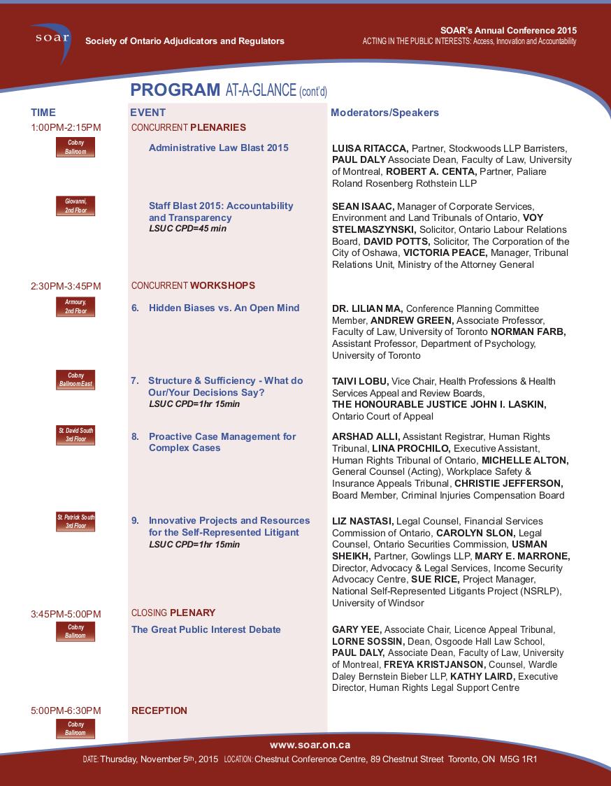 Program at a Glance, Page 2