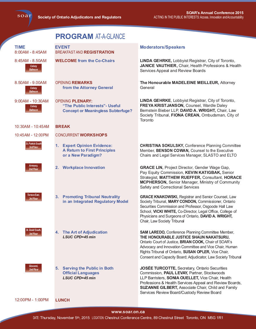 Program at a Glance, Page 1