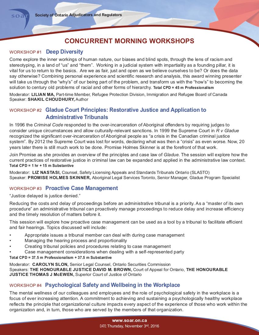 SOAR Conference Program 2016, page 2