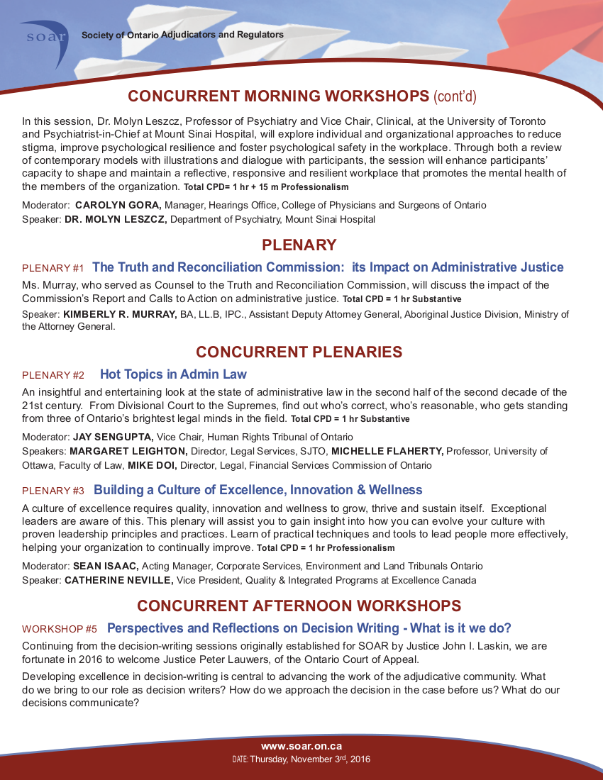 SOAR Conference Program 2016, page 3