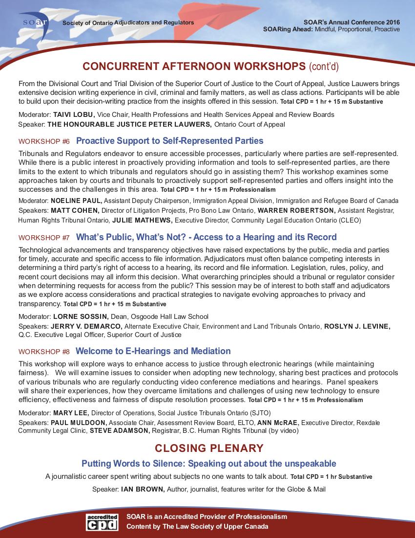 SOAR Conference Program 2016, page 4