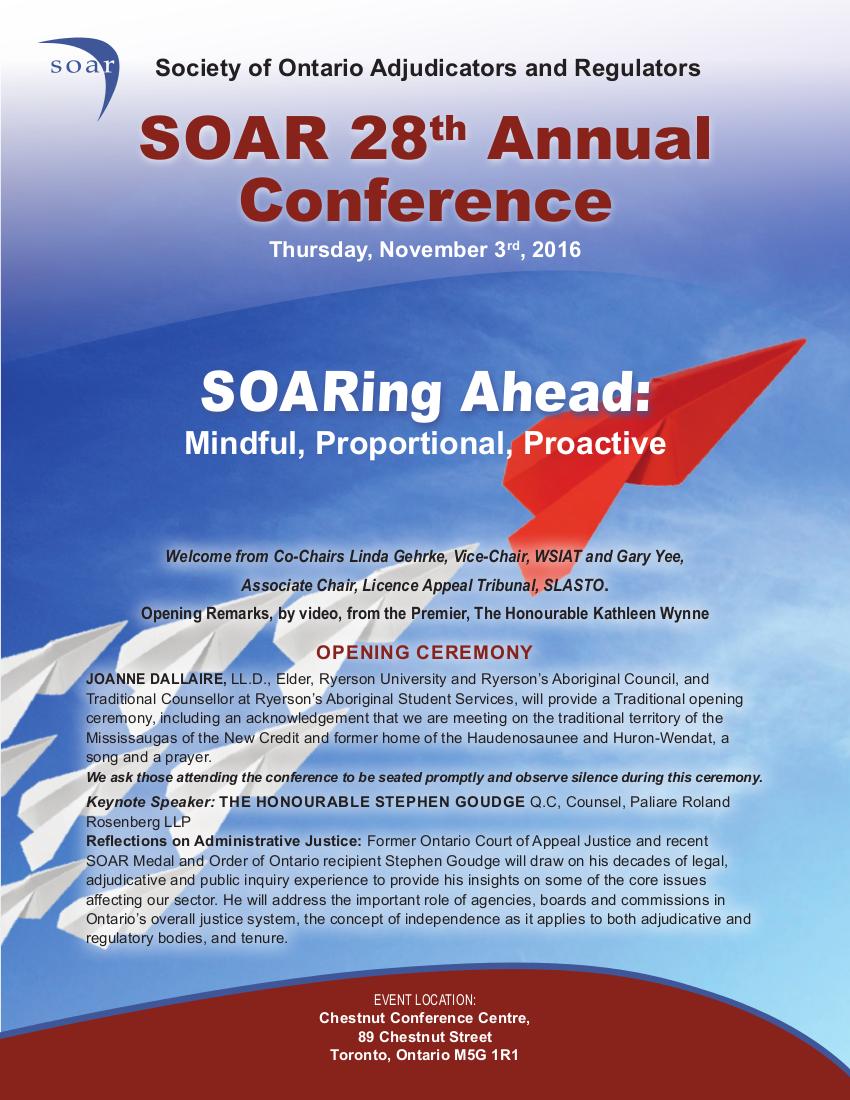 SOAR Conference Program 2016, page 1